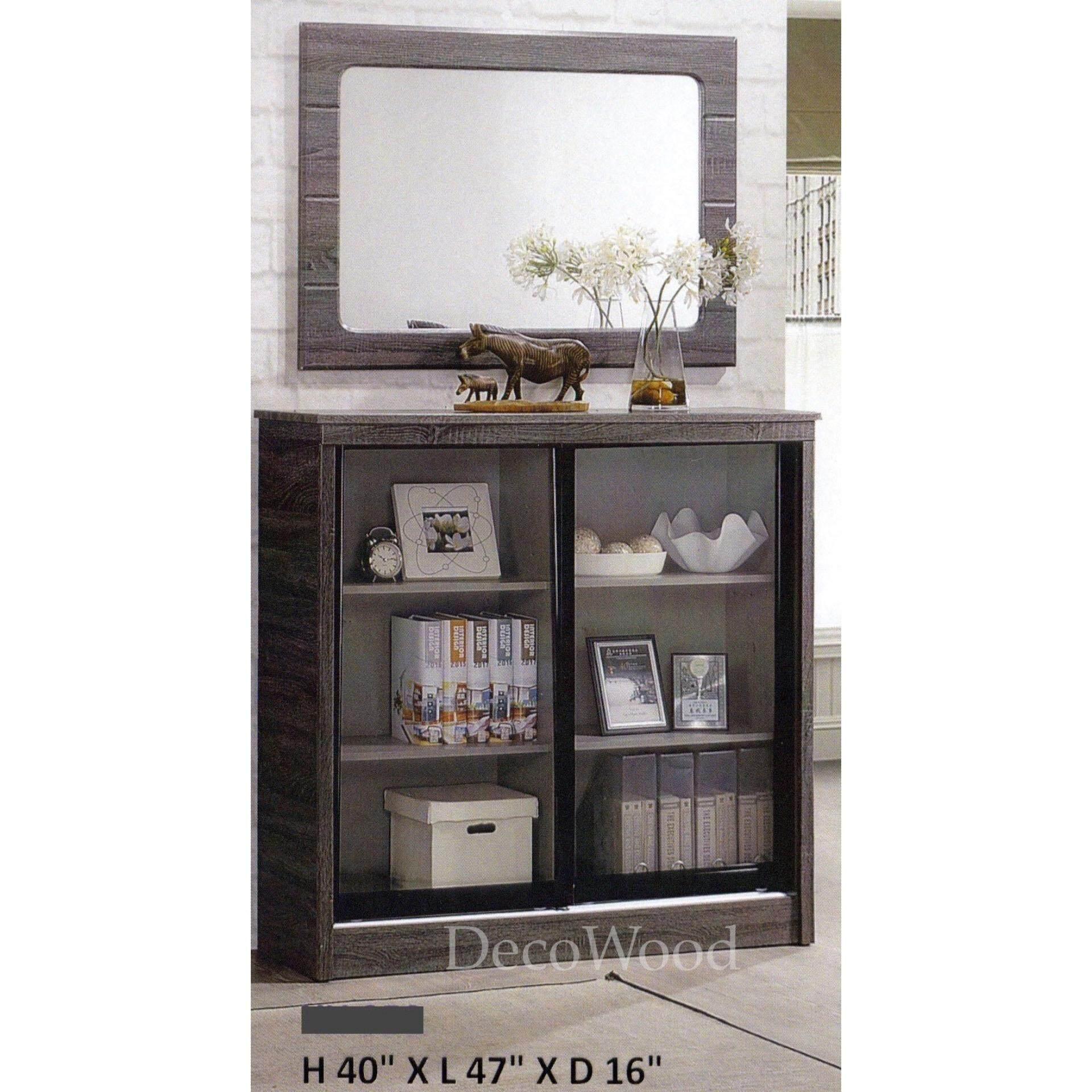 Ready-Fixed 4-Feet Sliding Glass Door Book Case Book Shelf Book Cabinet Multi-Purpose Display Cabinet Storage Cabinet (Dark Grey Colour) L1200MM X W410MM X H1020MM Pre Order 1 Week