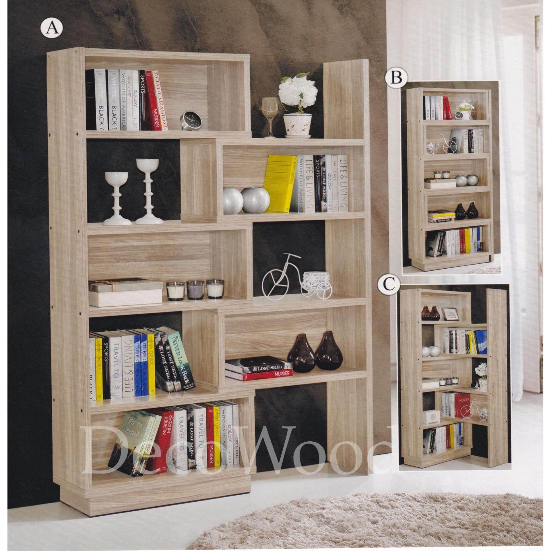5-Feet Adjustable Divider Solid Book Cabinet Case Display Cabinet (Cream) L1550MM X W305MM X H1800MM