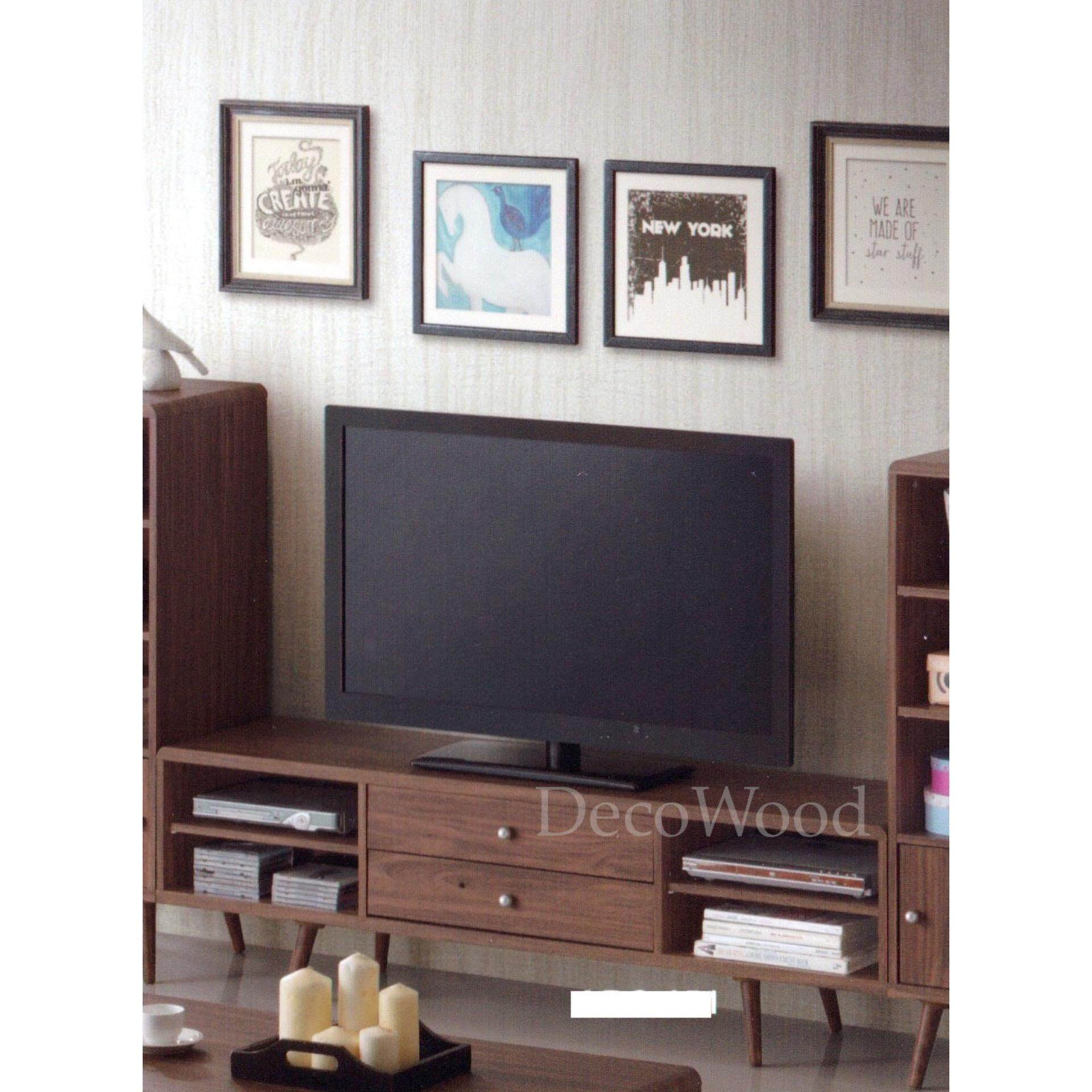 Ready-Fixed 5-Feet Solid TV Cabinet Wood Display Cabinet Living Hall Cabinet(Brown Colour) L1520MM X W400MM X H470MM