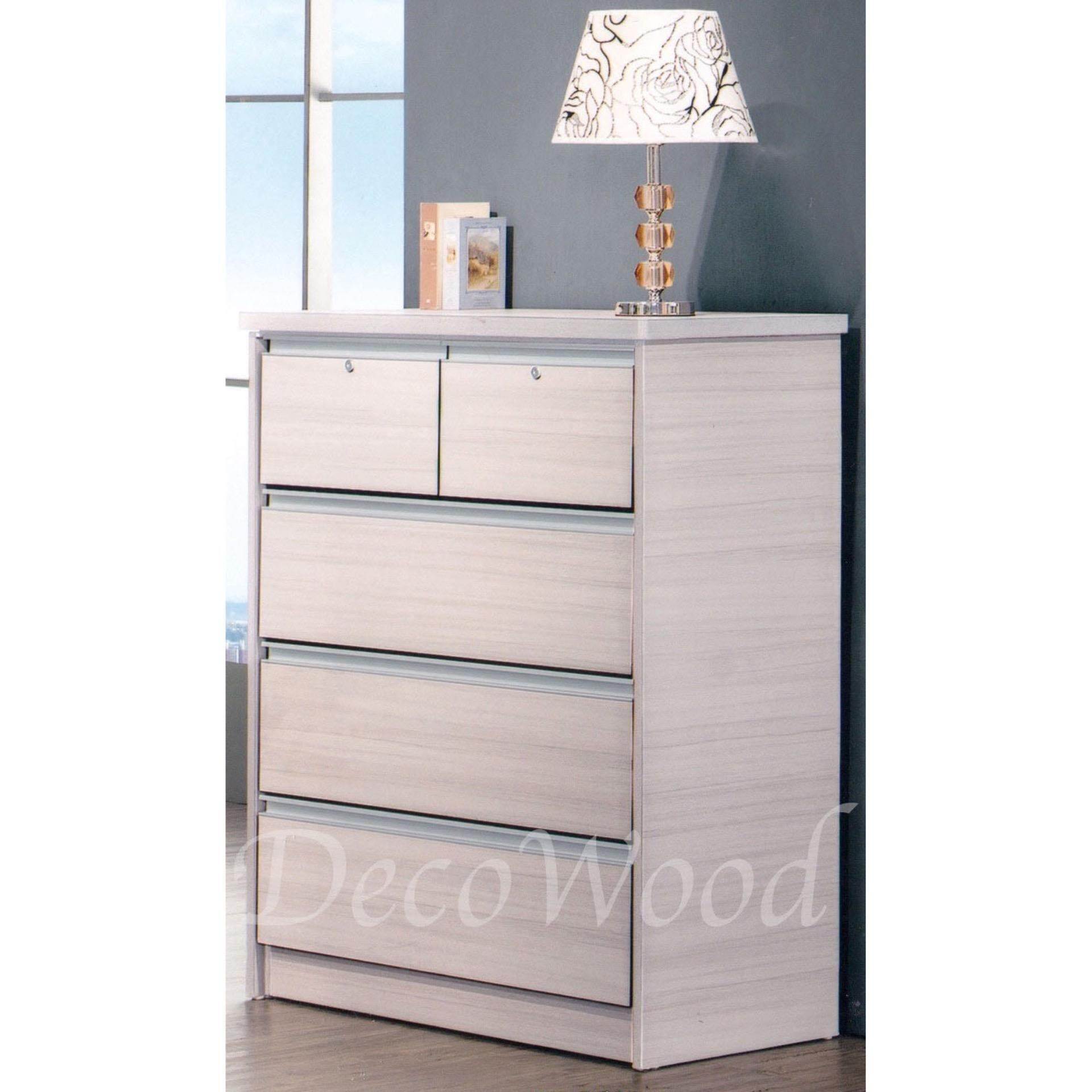 Ready-Fixed 5 Pull-Out Door Solid Strong Drawer Chest (Cream White) Pre Order 2 Week L838MM X W460MM X H1117MM