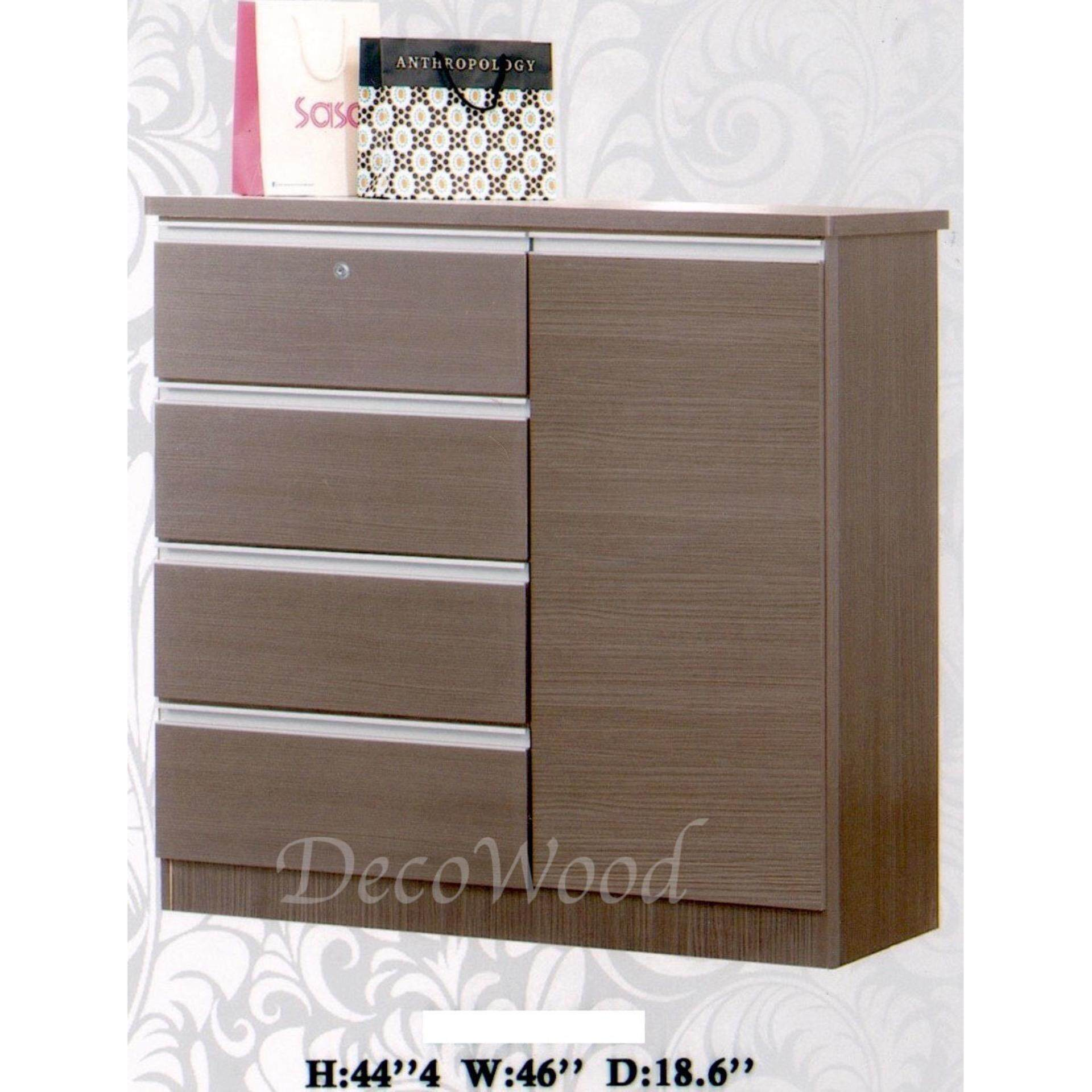 Ready-Fixed 5 Pull-Out Door Solid Strong Drawer Chest With Cloth Hanging Compartment(Light Brown) Pre Order 2 Week L1170MM X W470MM X H1128MM