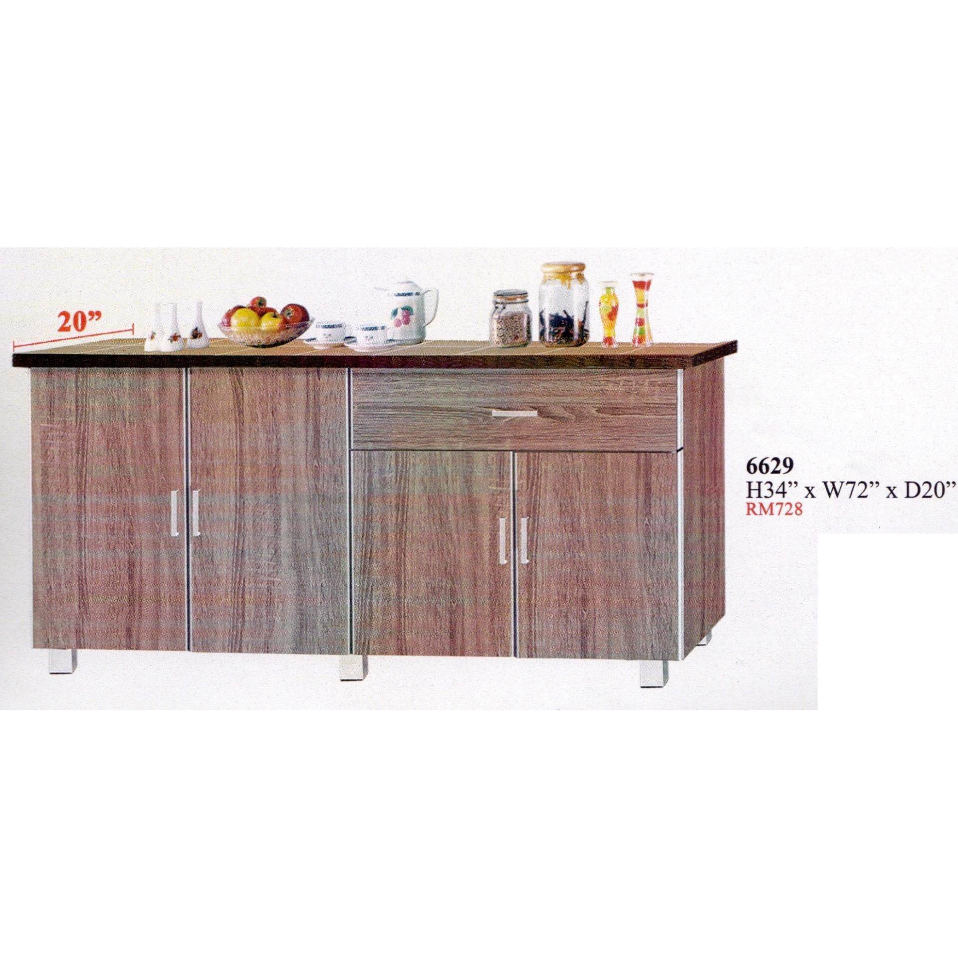 Ready-Fixed 6 Feet Kitchen Cabinet With Mosaic Top 6629 L1828MM X W408MM X H864MM