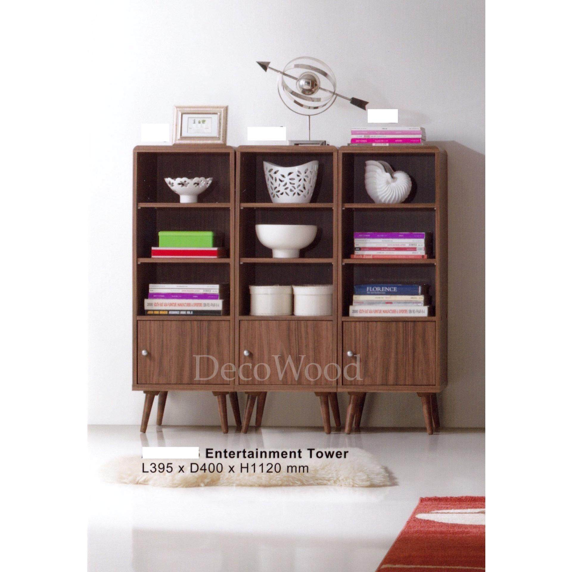 Ready-Fixed Book Shelf Multi-Purpose Display Cabinet Storage Cabinet Console Cabinet Entertainment TV Tower(Brown Color) L395MM X W400MM X H1120MM