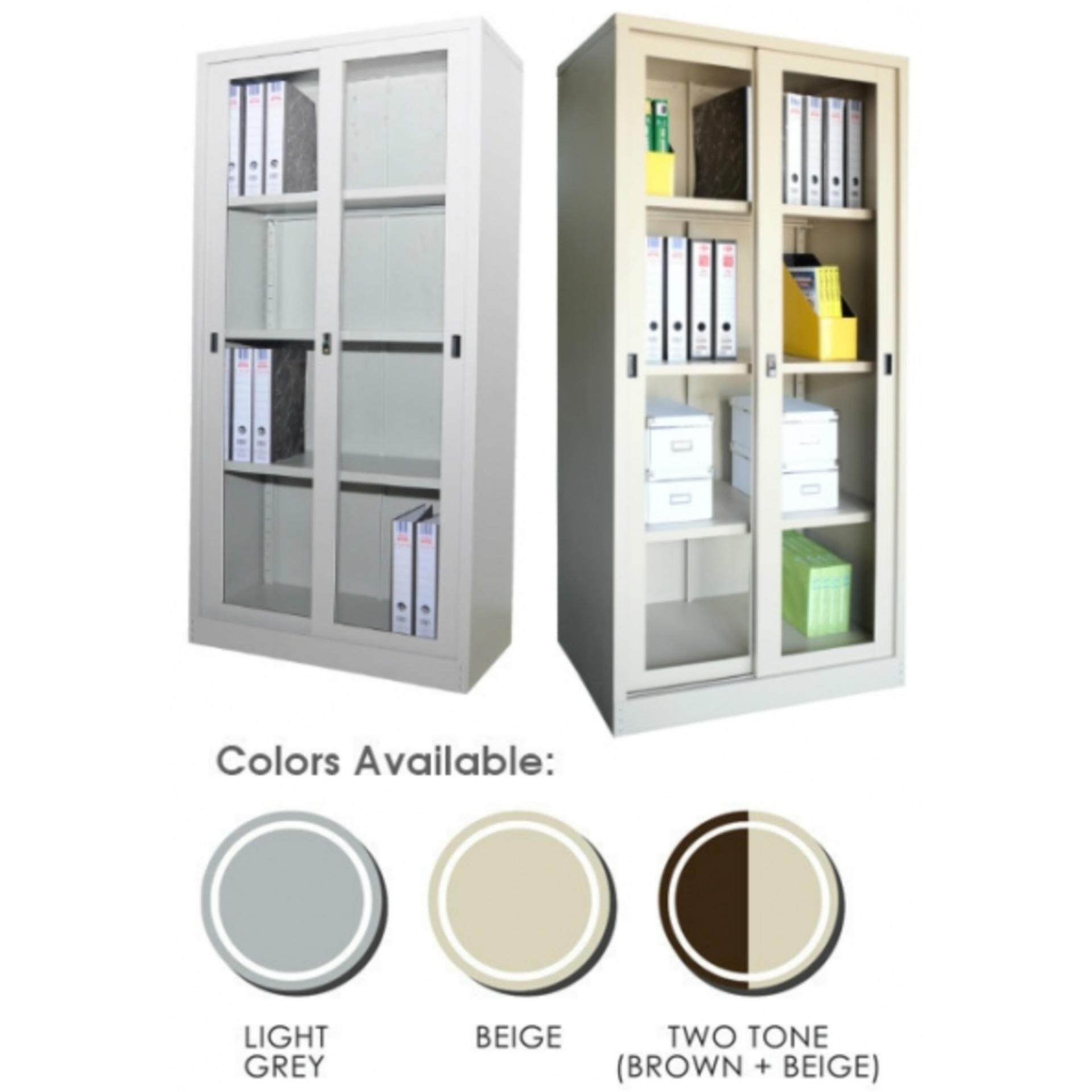 Ready-Fixed Deco Home Office Durable Glass Sliding-DoorStorage Cabinet Filing Cupboard Metal Documents Locker L915MM X W457MM X H1828MM Pre-Order 2 Week