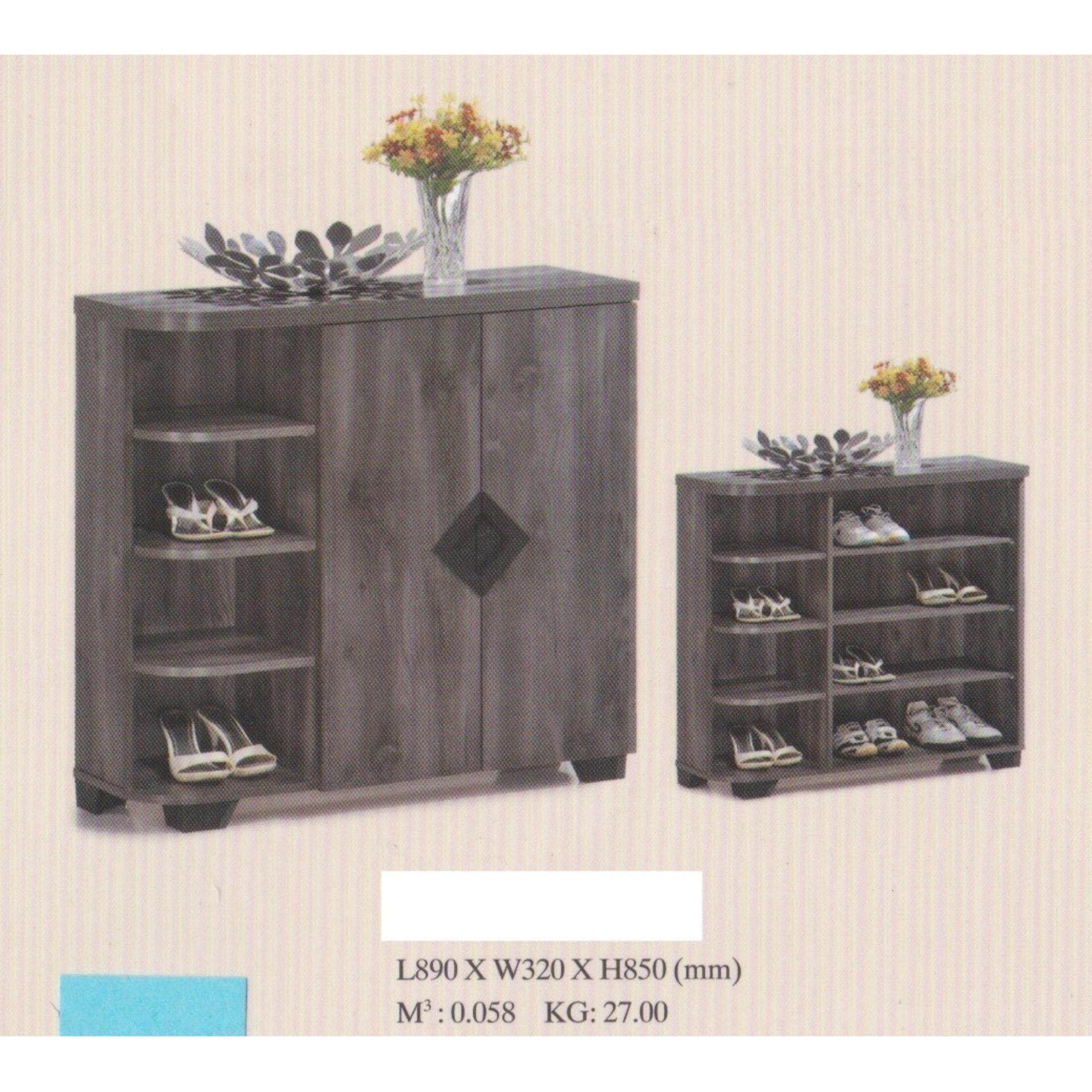 Ready-Fixed Solid 2 Door 4 Layer Solid Shoes Cabinet Wood With 4 Layer Storage Compartment (Grey Color) L890MM X W320MM X H850MM