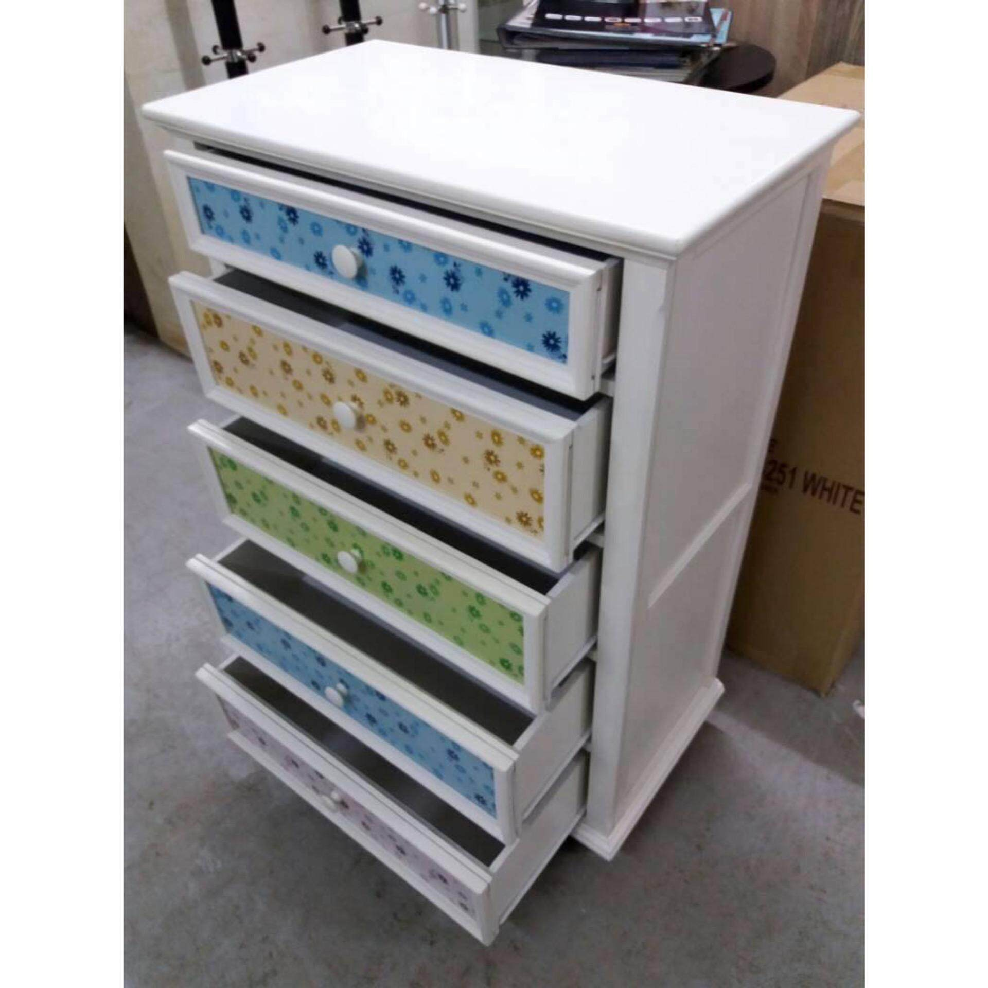 Ready-Fixed Solid Wood 5 Pull-Out Door Solid Strong Drawer Chest (White) L800MM X W445MM X H1205MM
