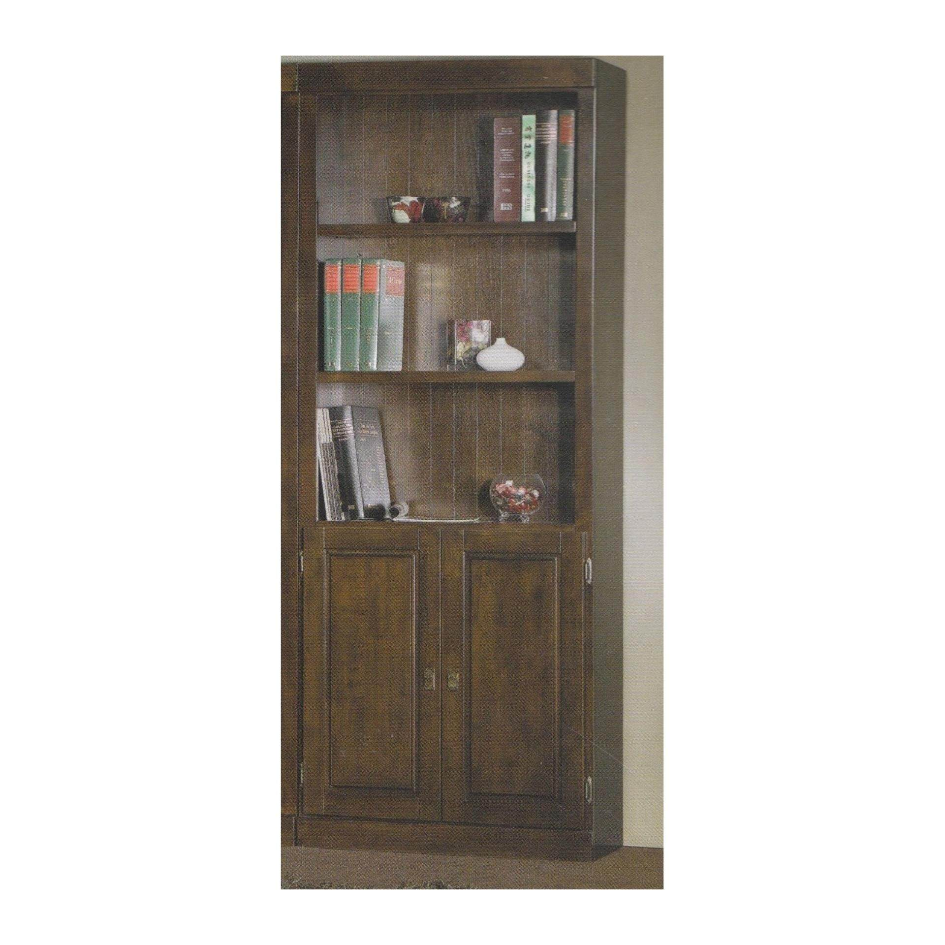 Ready-Fixed Solid Wood Book Case Shelves With 2 Doors 1977 L810MM X D336 X H2105 (Oak Color)
