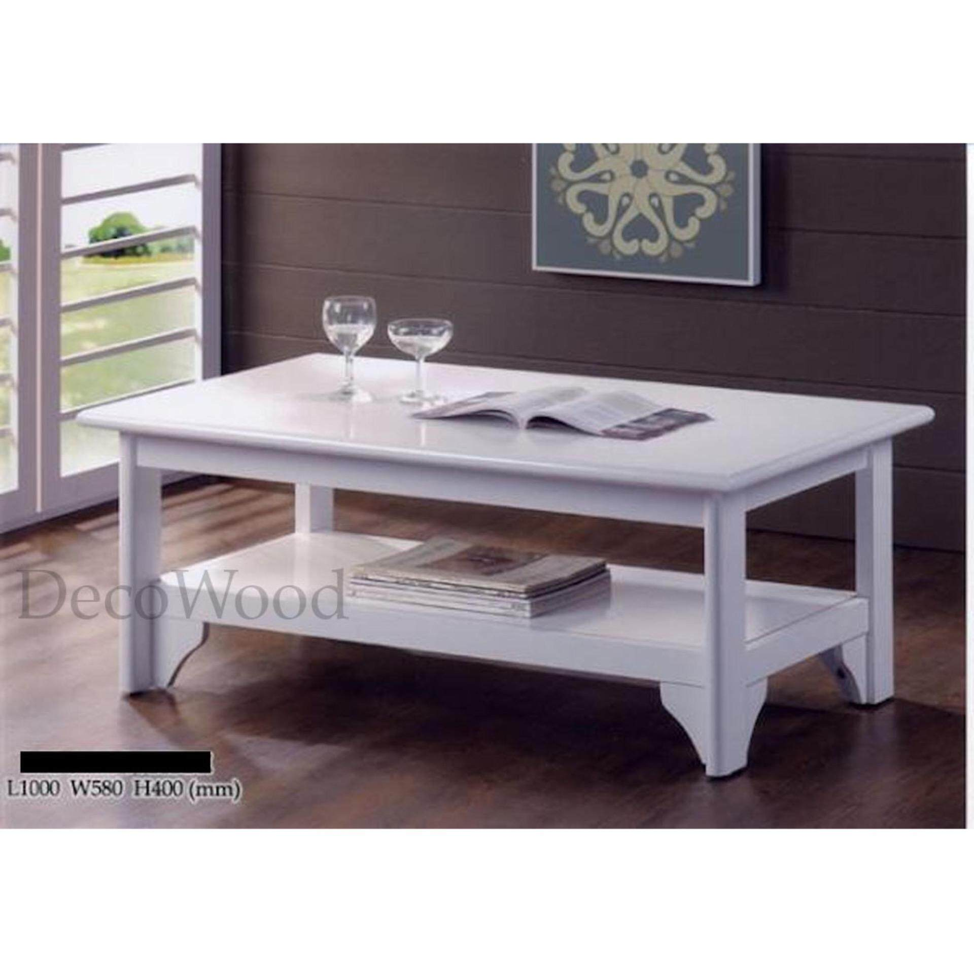 Solid Wood Strong Coffee Table (White Color) L1000MM X W580MM X H400MM
