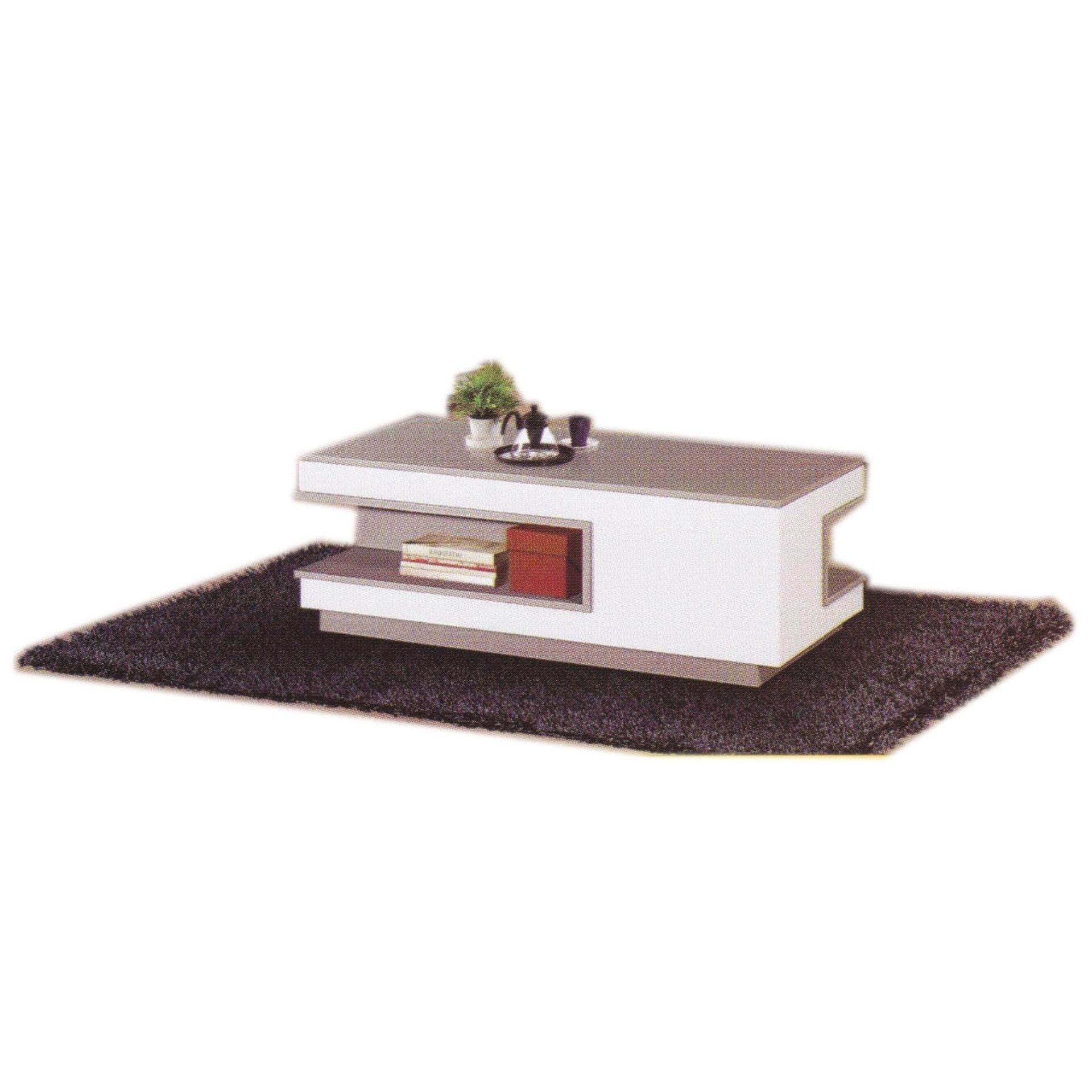 Ready-Fixed Wood Living Hall TV Coffee Table (Grey/white Color) L1220MM X W600MM X H406MM