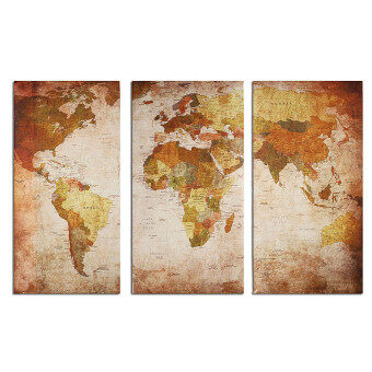 Retro World Map Framed Picture Canvas Print Wall Art Painting Ready To Hang - 3