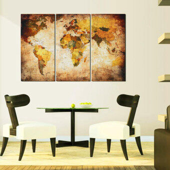 Retro World Map Framed Picture Canvas Print Wall Art Painting Ready To Hang - 2