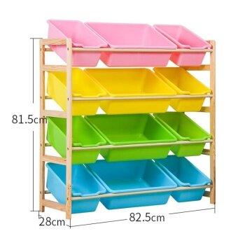 RuYiYu - 82.5 X 81.5 X 28cm, Kids Toy Organizer and Storage Bins,12-Bins in Fun Colors, Toy Storage Rack, Natural/Primary