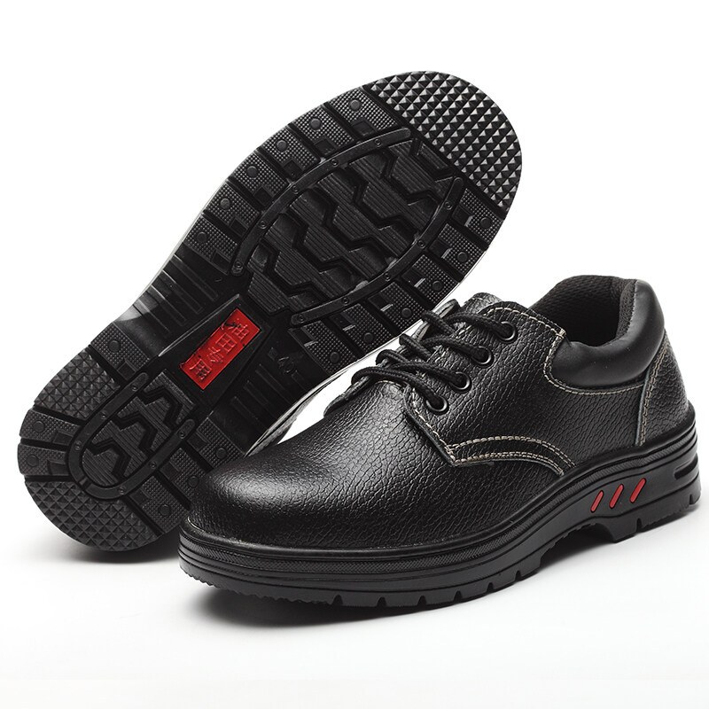 Buy Safety shoes steel header for men and women Anti-smashing leather wear and to help low solid heart safety work site old security and protection shoes Malaysia