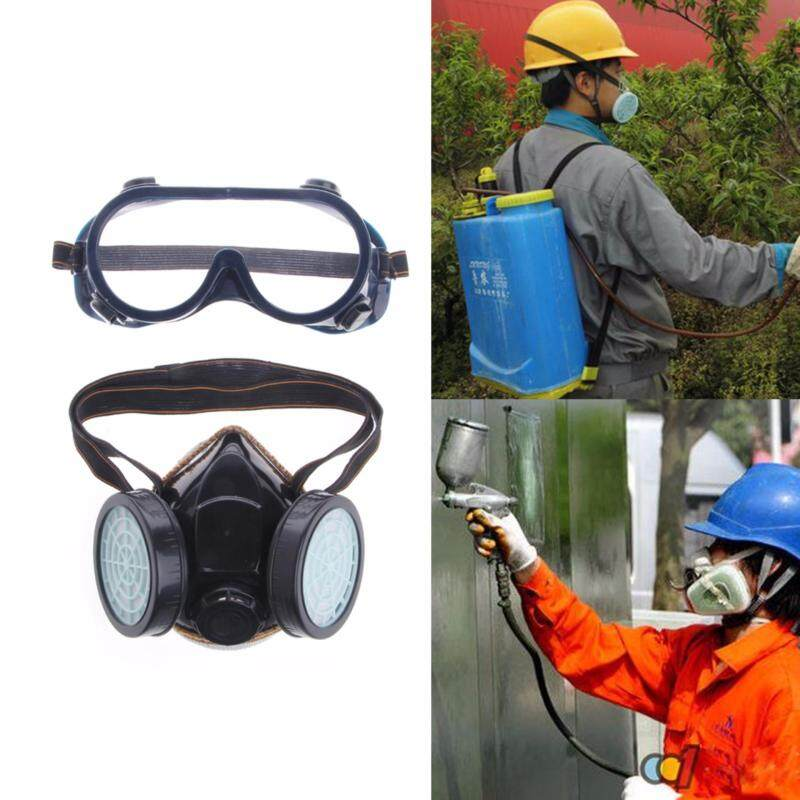 Buy Safty Gas Mask Anti Dust Respirator Filter Paint Chemical Industrial Goggles Set Malaysia