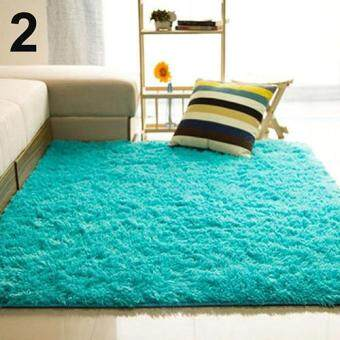 Harga Sanwood(R) Living Room Bedroom Home Anti-Skid Soft Shaggy Fluffy AreaRug Carpet Floor Mat (Blue)