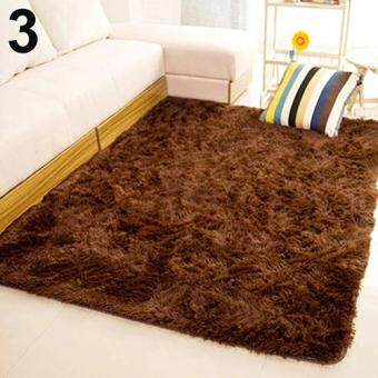 Harga Sanwood(R) Living Room Bedroom Home Anti-Skid Soft Shaggy Fluffy AreaRug Carpet Floor Mat (Brown)