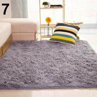 Harga Sanwood(R) Living Room Bedroom Home Anti-Skid Soft Shaggy Fluffy AreaRug Carpet Floor Mat (Grey)