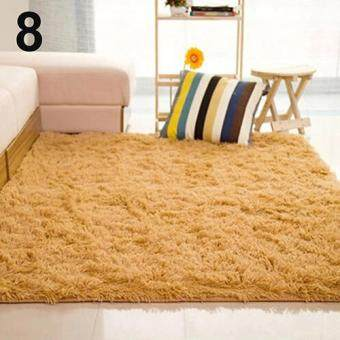 Harga Sanwood(R) Living Room Bedroom Home Anti-Skid Soft Shaggy Fluffy AreaRug Carpet Floor Mat (Khaki)