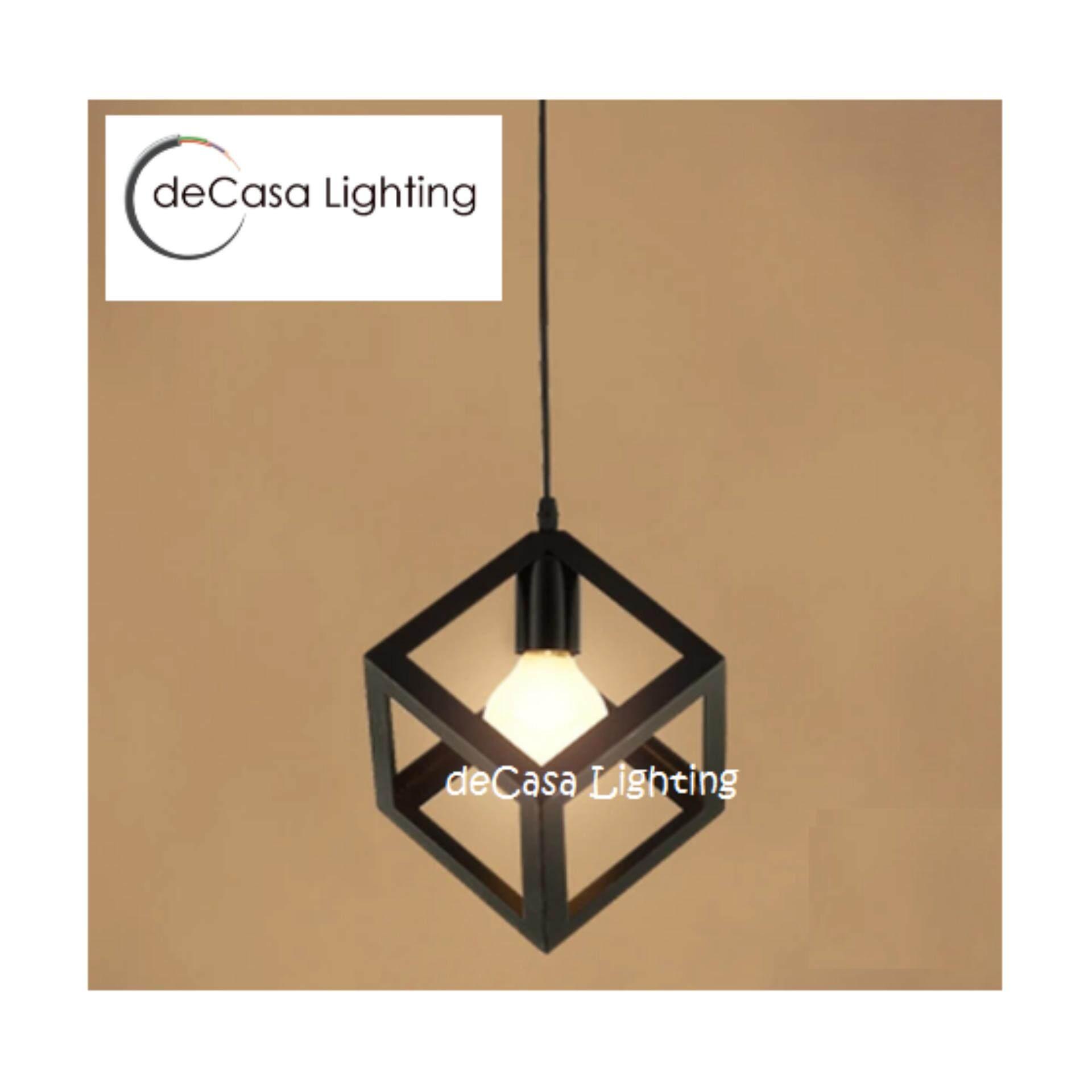 Scandinavian Loft Lamps Lighting home led steel deco dinner lights spot art room deco kitchen id design - Cube Black  (JL-PX807)