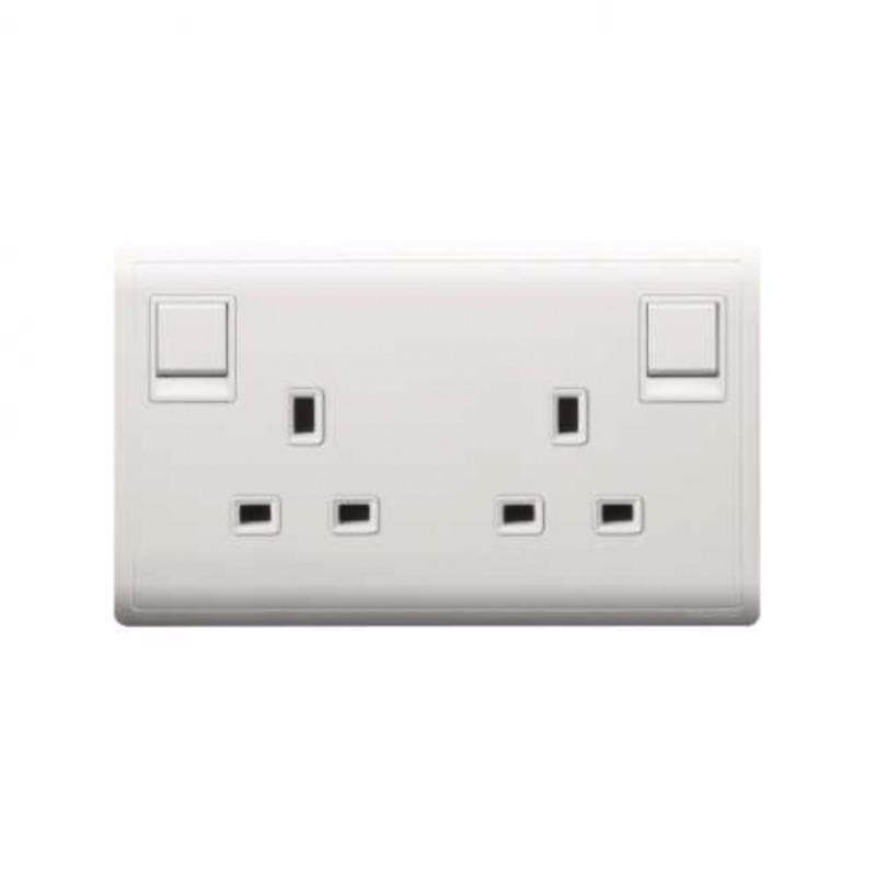 Schneider Pieno  13A 250V Twin Gang Switched Socket, White