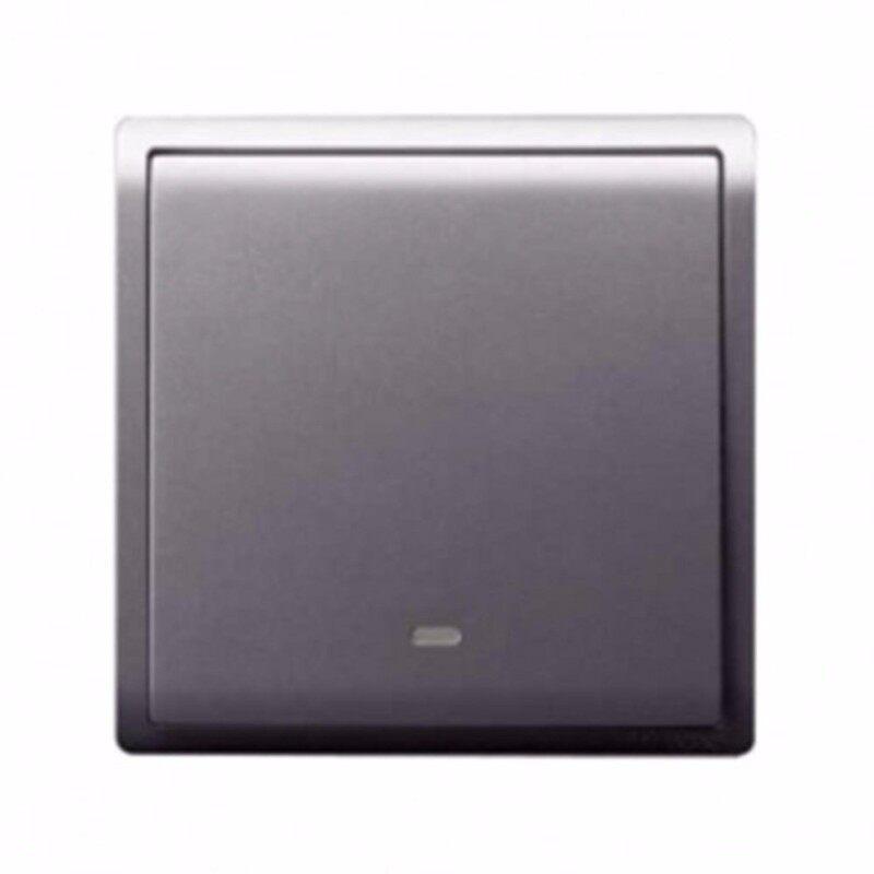 Schneider Pieno 16A  X 250V 1 Gang 1 Way Switch With Fluorescent Locator, Silver