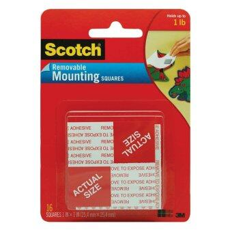 Scotch Mounting Square 108, 1 in x 1 in (25.4 mm x 25.4 mm), 16 Squares