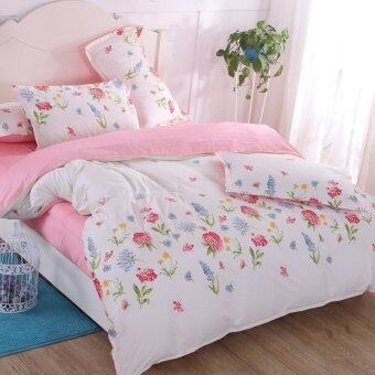 Harga SEC Style Queen Fitted Bedding Set bed protector home Quilt Cover Polye - Style E
