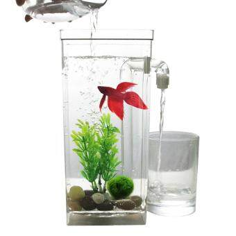 Harga Self Cleaning Plastic Fish Tank Desktop Aquarium Betta Fishbowl forOffice Home Decor