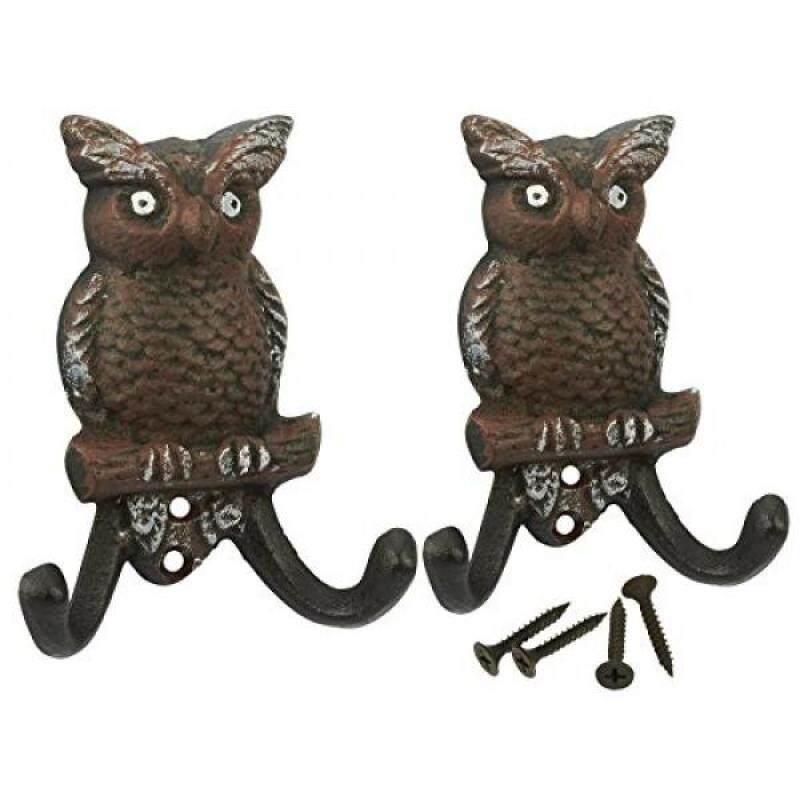 Set of 2 Cast Iron Cute Matching Owls Decorative Wall Hooks