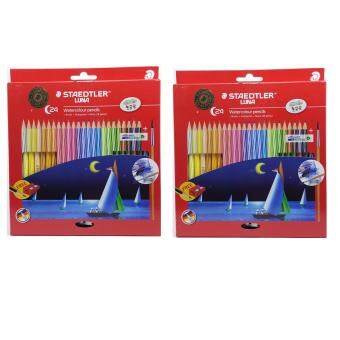 Harga { Set of 2 } Staedtler LUNA WaterColour Pencil ( 24 Colour + Brush + Sharpener ) x 2 set