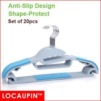 (Set of 20pcs) LOCAUPIN Clothes Hanger Non-slip Korea Home Power(Blue Color)