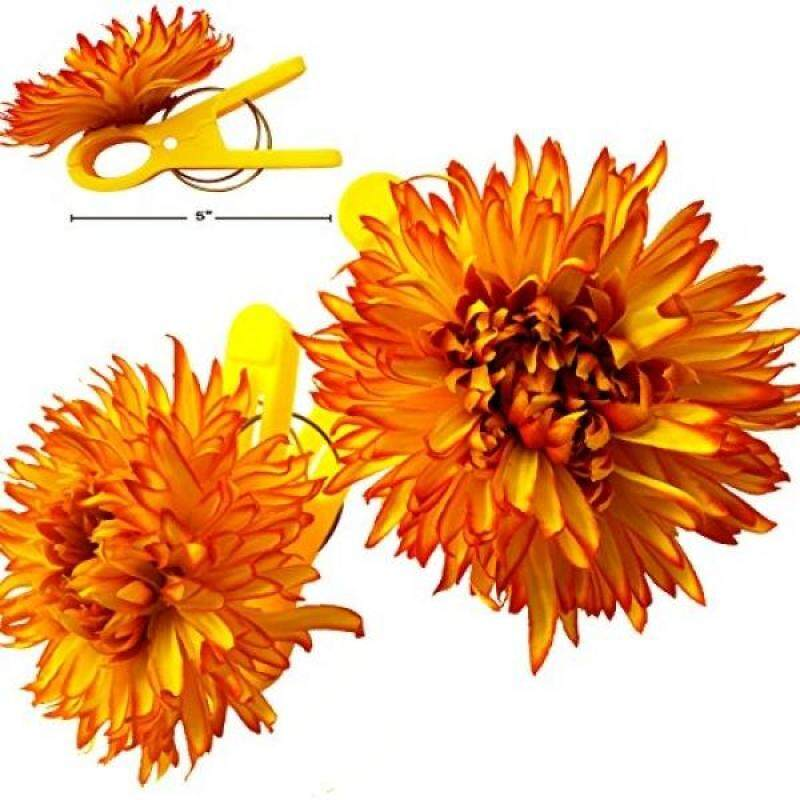 "(Set of 2)Beach Towel Tropical Flower Clips JUMBO SIZE(5"") for Beach Chair or Pool Loungers on Your Cruise. (Yellow Chrysanthemum)"
