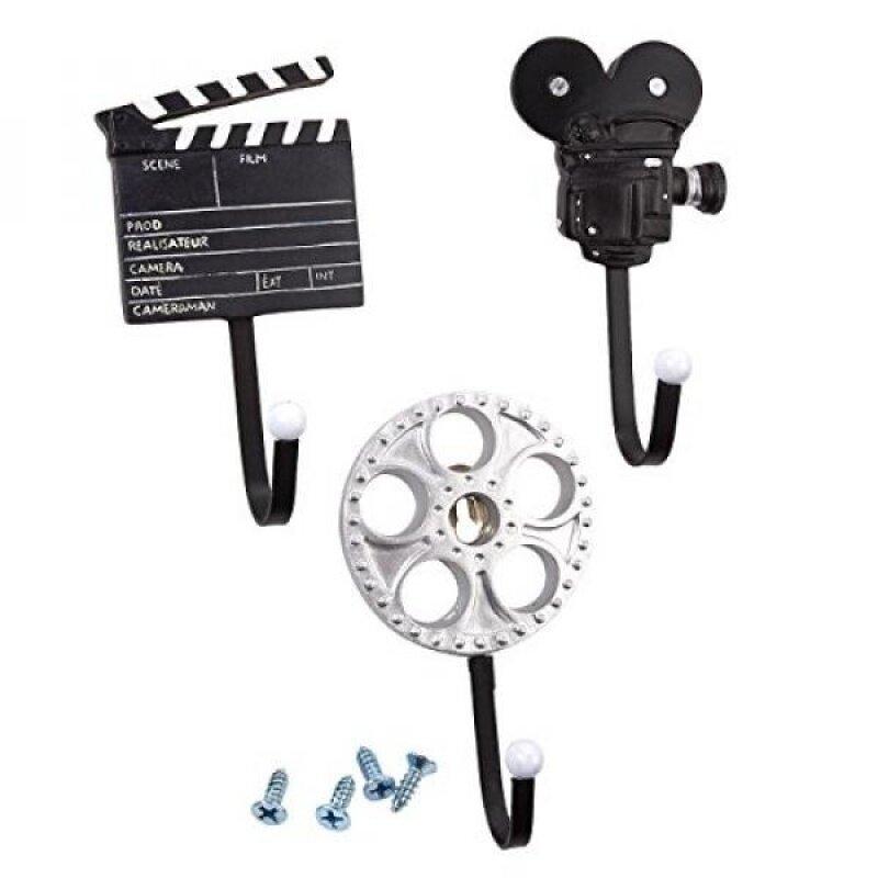 Set of 3 Decorative Wall Hooks - Iron Hooks, Decorative Hooks, Film-Themed Hooks for Keys, Hats, Coats, Scarfs, Black and Silver