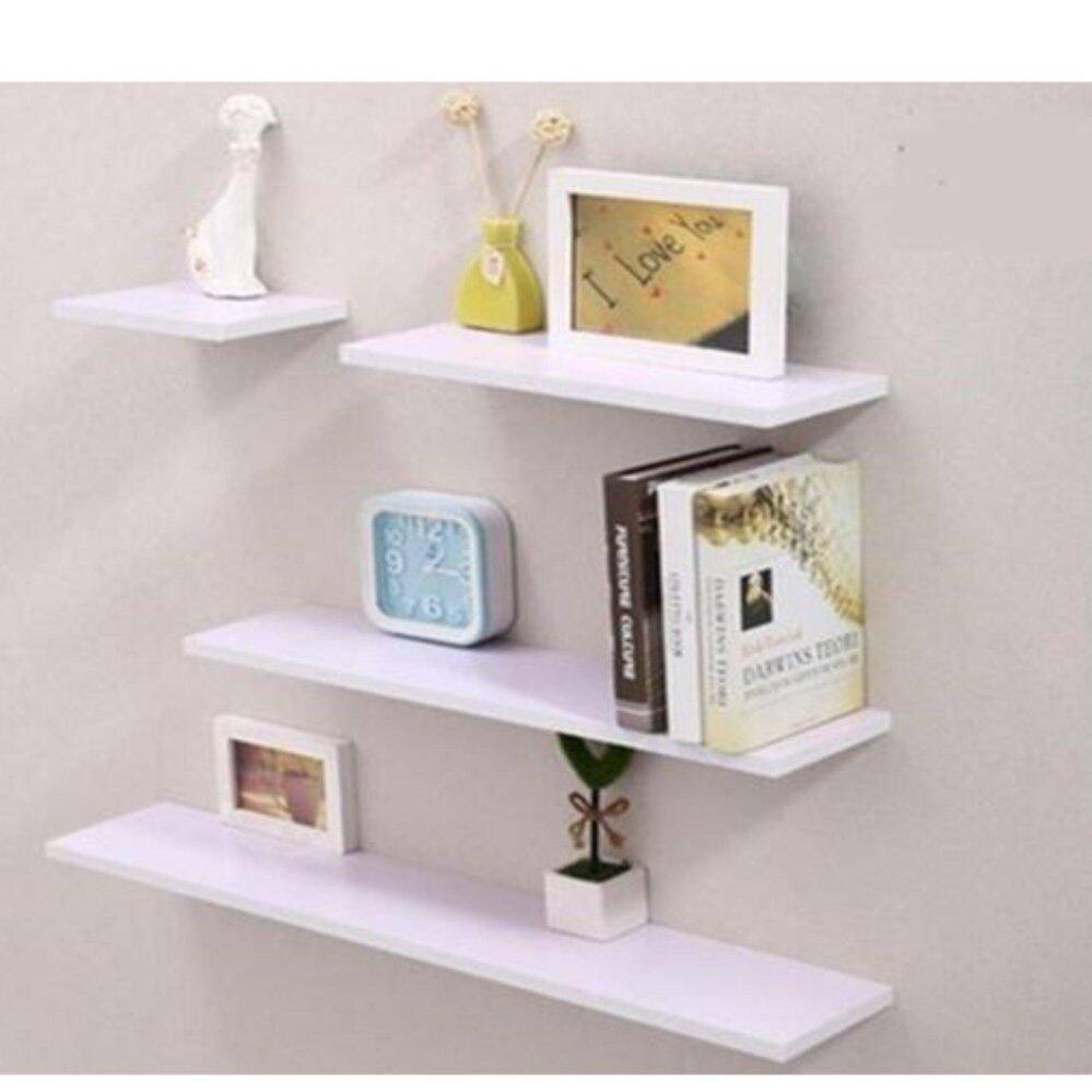 Set of 4 Horizontal Shape Wall Mounted Shelves Design A White