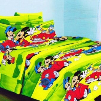 Set Single Bedsheet & Comforter - MICKEY AND MINNIE MOUSE DRIVE A CAR