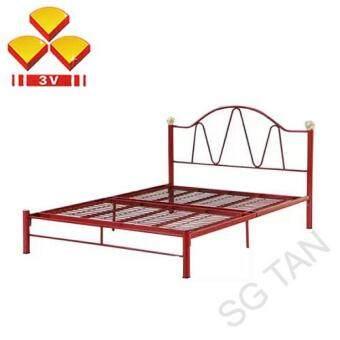 sg tan 3v flower quality metal queen bed frame 100cm x 210cm x 155cm - Metal Queen Bed Frame