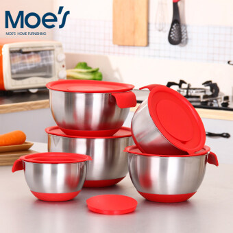 Silicone does not rust steel Beat egg pots handle oblique mouth salad bowl with scale with lid planing wire planer salad bowl