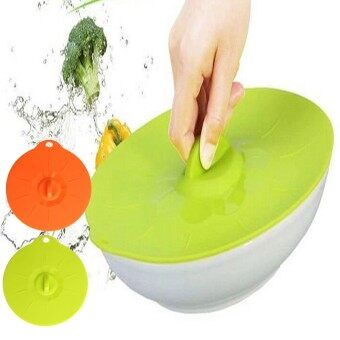 Silicone Seal Lid Anti-dust Glass Microwave Bowl Cup Leakproof Suction Cover Orange