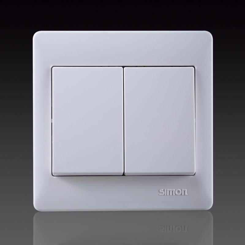 Buy SIMON 10A 2 Gang 1 Way Switch - Full White Malaysia