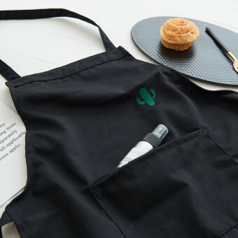Simple cotton black kitchen apron sleeveless apron
