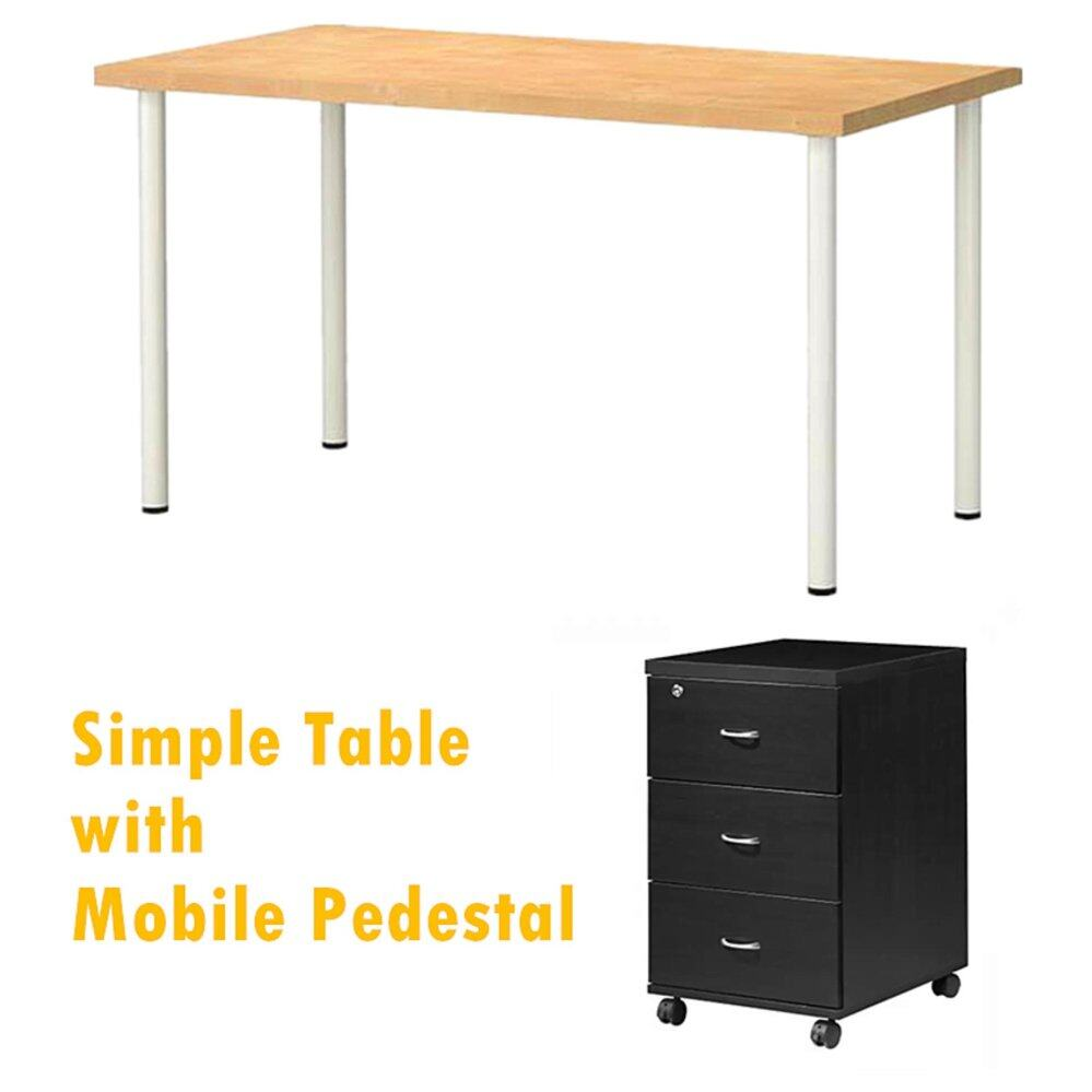 Simple Office Table 160 x 80 with Mobile Pedestal Lazada Malaysia