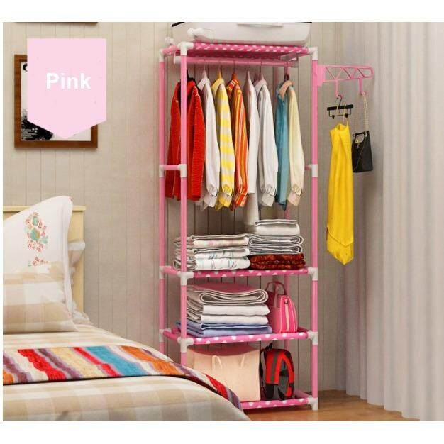 (Pink Colour)Multi function Simple Wardrobe Clothes Organizer & Storage Rack / Open Closet