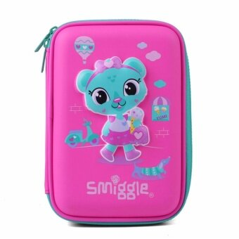 Smiggle Hardtop Pencil Case - Green Head Cat