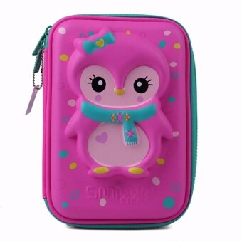 Smiggle Hardtop Pencil Case - Pink Penguin