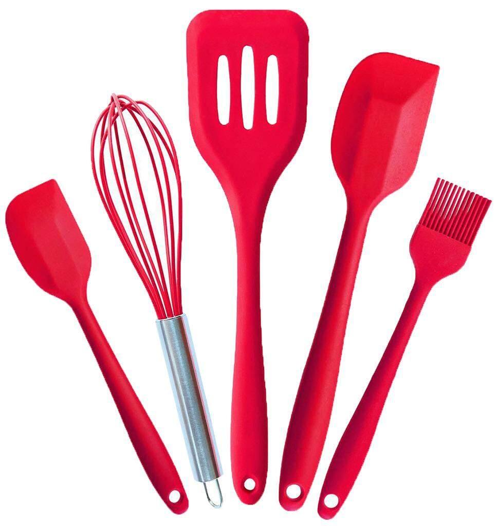 Smile YKK 5PCS Silicone Kitchen Utensils Baking Spatula Whisk Brush Spoon Red - intl