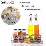 (RAYA 2019) SOKANO 10 Pcs Seasoning Bottle, Spice Jars and Oil Dispensers with 2 Tiers Rack