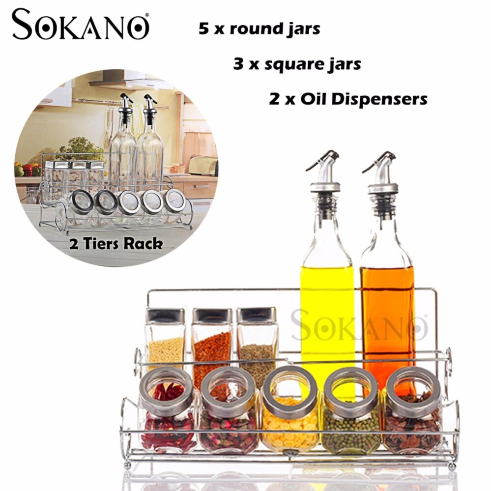 SOKANO 10 Pcs Seasoning Bottle, Spice Jars and Oil Dispensers with 2 Tiers Rack