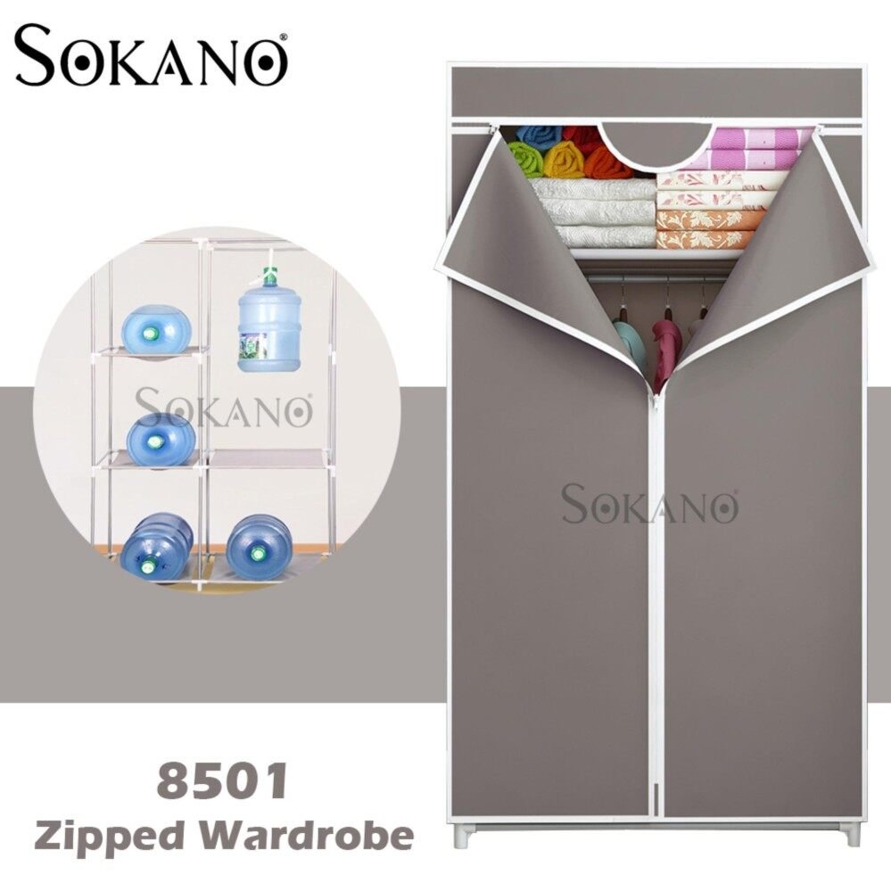 SOKANO 8501 Zipped Wardrobe with Spacious Storage And Strong Steel Structure - Coffee