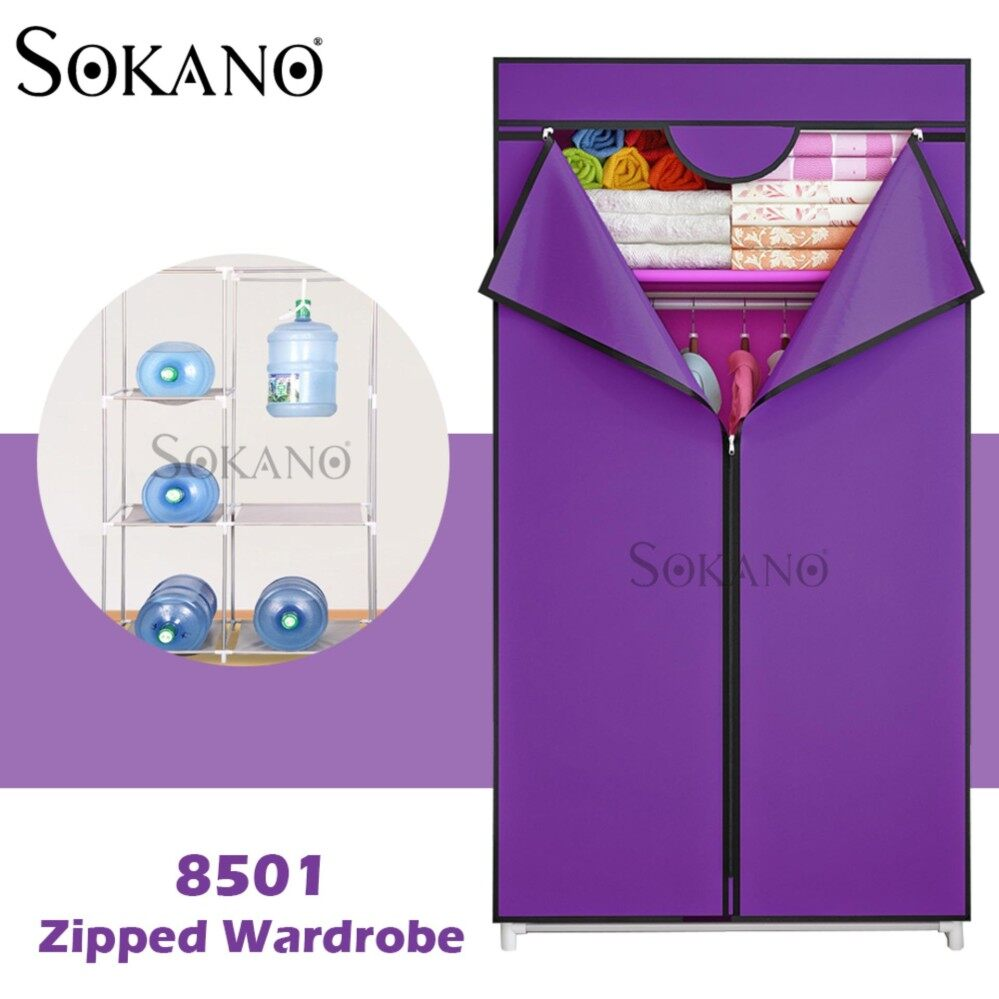 SOKANO 8501 Zipped Wardrobe with Spacious Storage And Strong Steel Structure - Purple