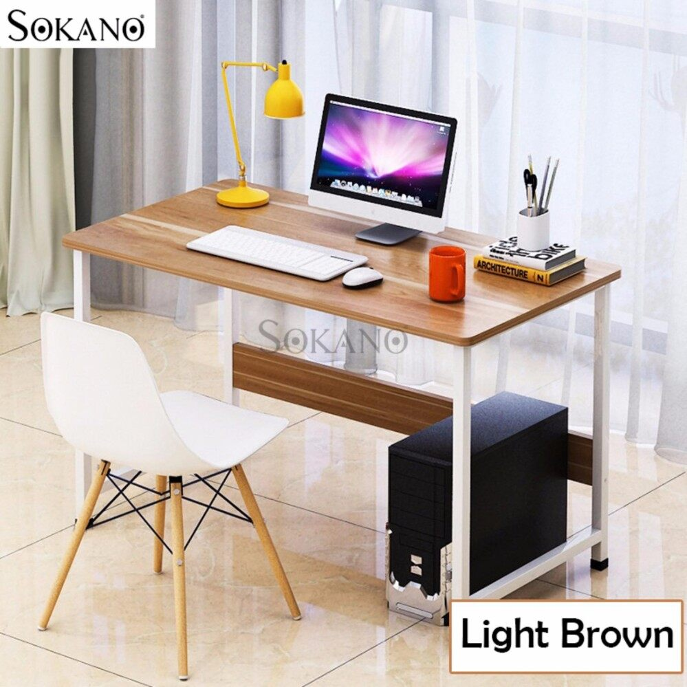 SOKANO B2165 Wooden Multipurpose Writing and Dekstop Table with Steel Structure - Light Brown (217750)
